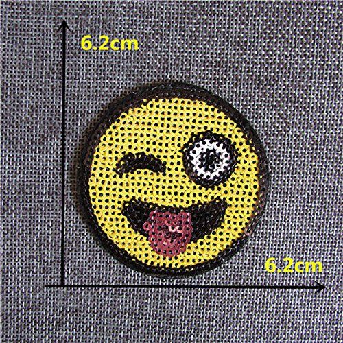 FairyTeller 2016 New Different Kind Smiling Face Patch Hot Melt Adhesive Applique Embroidery Patch Diy Clothing Accessory Patch >>> You can get more details by clicking on the image.