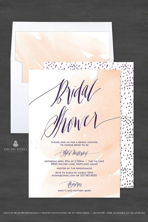 simple diy bridal shower invitations%0A Beautiful nude blush peach watercolor Bridal Shower cards with modern  elegant deep purple calligraphy  Tiny