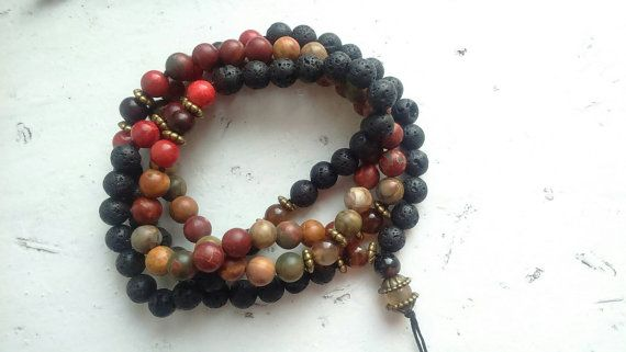 Check out this item in my Etsy shop https://www.etsy.com/listing/258197757/mala-made-of-108-beads-jasper-and