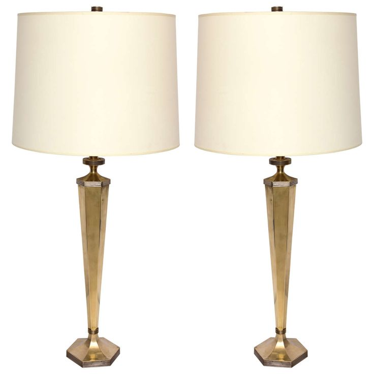 pair of 1940s art moderne brass and silver table lamps