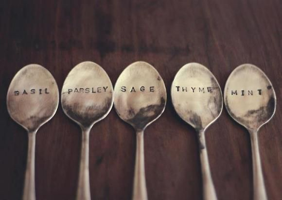 Going to have to make these stamped spoons for potted herb garden