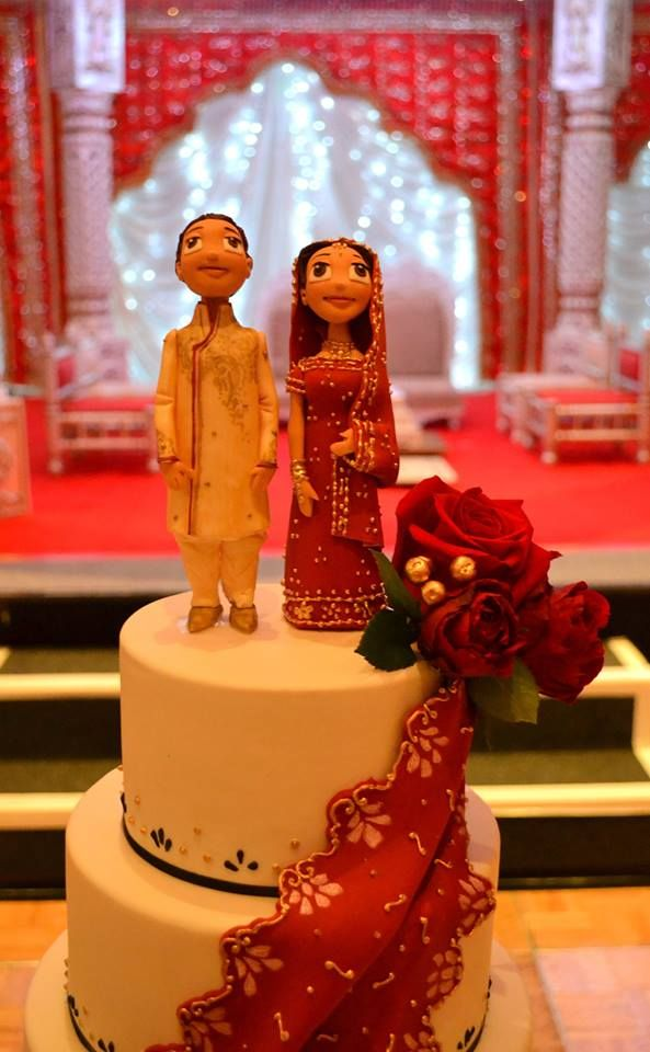 Indian wedding cake bride and groom toppers