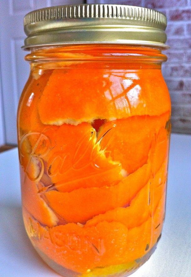 "Soak orange peels in vinegar for two weeks in a sealed mason jar then pour the vinegar into a spray bottle. Use as a non-toxic and yummy smelling ""green"" cleaner."