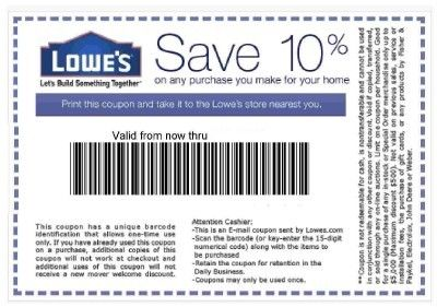 Lowes 10 Percent Off Coupon Usps 40 To Hobby Lobby
