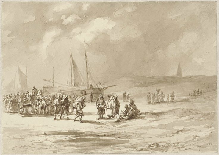 Strand met vissers, Willem Pieter Hoevenaar (Utrecht 1808 - Utrecht 1863)
