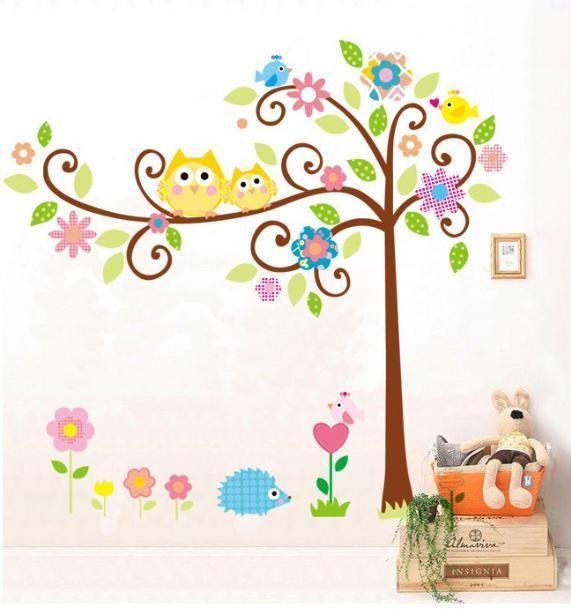 PVC Wandtattoo Wandaufkleber Eule Eichhörnchen Igel in Bäume 165*150cm in Möbel & Wohnen, Kindermöbel & Wohnen, Dekoration   eBay