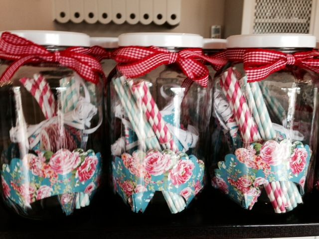 China rose turquoise themed Lou Harvey Party Jars
