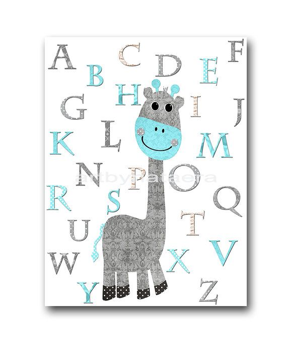 Giraffe Nursery Alphabet Nursery Alphabet Baby Boy by artbynataera, $14.00