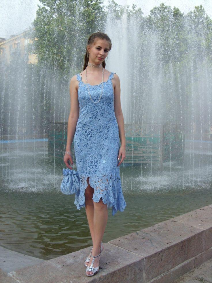 Платье крючком. Наборное (ирландское) кружево. Crochet dress from Olha_N.  #crochet #Irish_lace #Crochet_dress #crochet_cocktail_dress