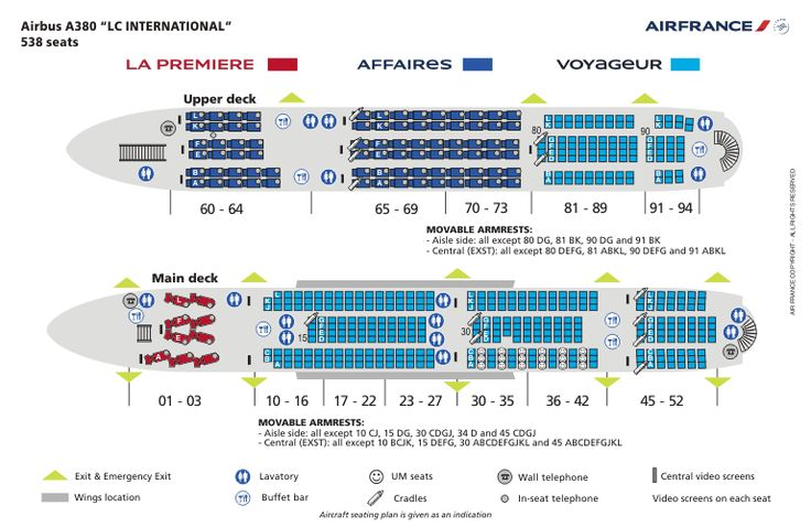 airbus a380 interior | Air France Airbus A380 Seat map & seat plan (Click image below for a ...