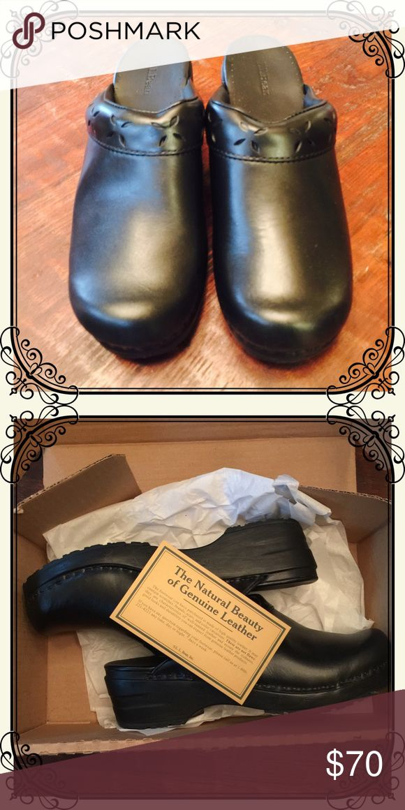 Genuine black leather women's clogs from LL Bean NWT! Brand new in box black genuine leather women's clogs from LL Bean. Beautiful edge detail, extremely sturdy! L.L. Bean Shoes Mules & Clogs