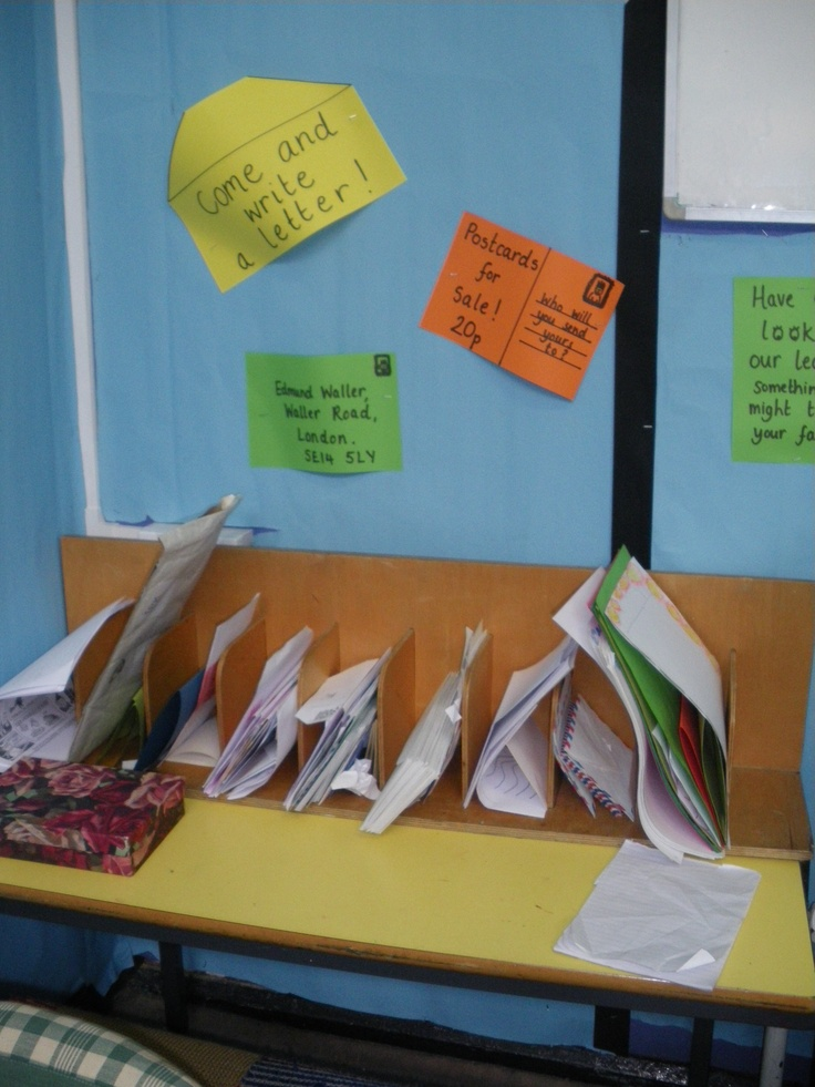 Writing area in the Post Office role play area, with a range of envelopes and note cards and interesting pens donated by parents and workplaces, for children to write letters to post in the post box.  It really encouraged children to get writing :-)