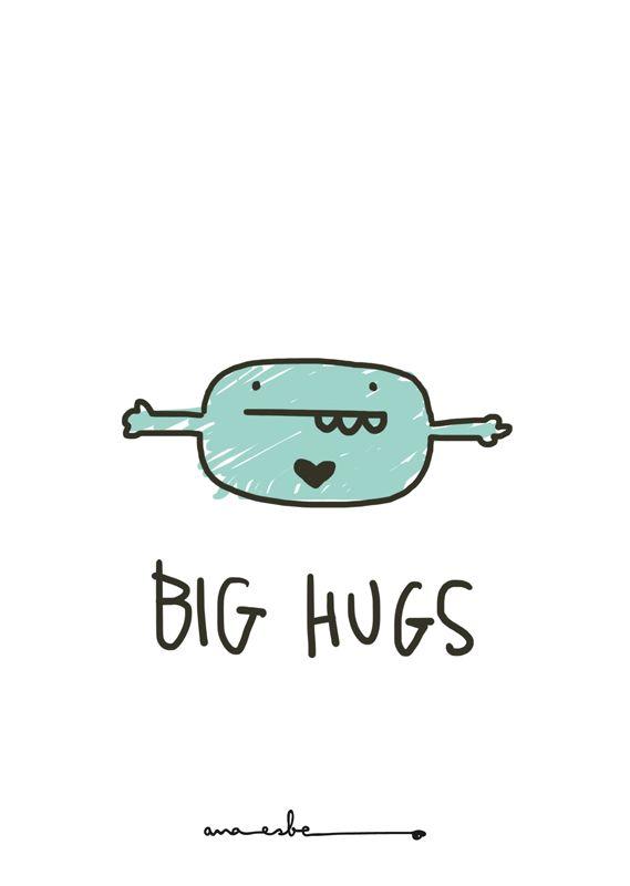 big hugs - illustration by ana esbe - www.anaesbe.com