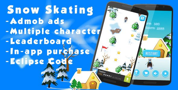 Snow Skating - Admob and Leaderboard . Avoid obstacles such as trees, houses, stones etc.We have used direct control.This game is made with eclipse and cocos2d-x lib and designed our own graphics in photoshop so you can easily reskin it.We have also included Character selection menu and in-app purchase to remove ads.You have to just