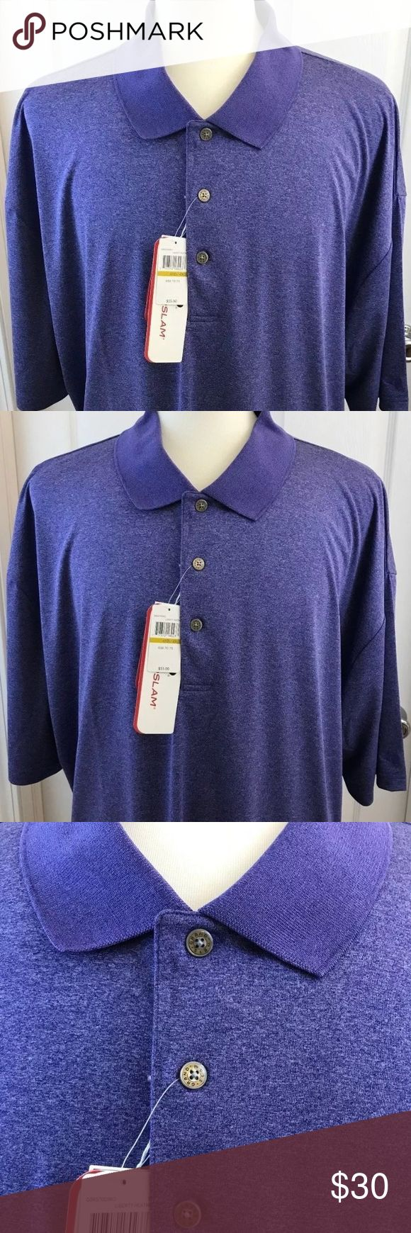 Grand Slam mens polo 4XB blue easy care driflow Grand Slam men's big & tall short sleeve polo shirt  Three button, driflow wicking, easy care sun protection fabric, polyester New with tags Size: 4XB Color: Liberty Heather is color on tag (Blue)  From a smoke-free & fragrance-free environment Grand Slam Shirts Polos