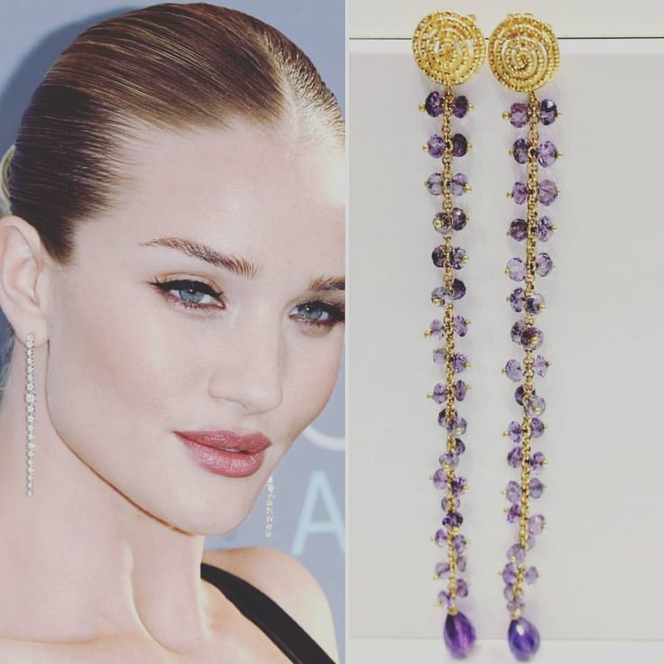 Get the look look with our 18ct yellow gold drop earrings in amethyst.
