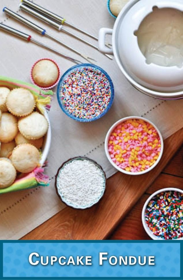 Host a Cupcake Fondue party – your friends will love you for it! You can customize tiny cupcakes with any sprinkles you like while watching a Rom Com. Check out the easy recipe!