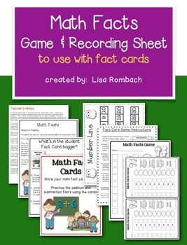 Math Facts Game & Recording Sheet ****FREEBIE****(materials to use with fact cards at school and at home)   Does NOT include fact cards (can be used with any addition or subtraction fact cards). FREE!!!