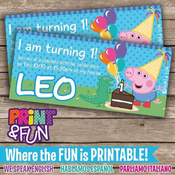 20off SALE GEORGE PIG Party Printable Festa por Printnfun en Etsy, $20.00
