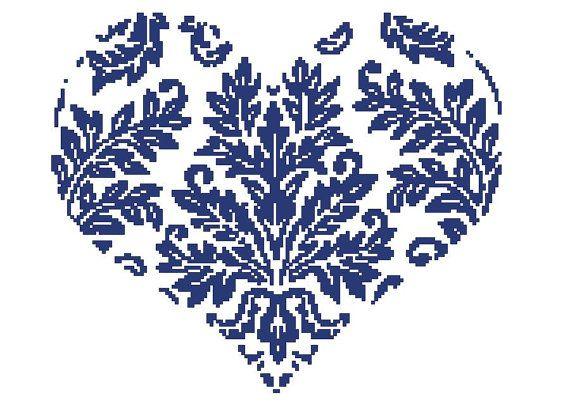 Buy 2 Get 1 Free-Heart-Modern cross stitch pattern-PDF pattern-Instant Download-blue-Best gift-Home decor-Wall decor