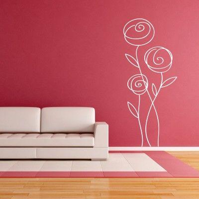 """Adesivo Murale - Rosa Astratta.  Adesivo murale di alta qualità con pellicola opaca di facile installazione. Lo sticker si può applicare su qualsiasi superficie liscia: muro, vetro, legno e plastica.  L'adesivo murale """"Rosa Astratta"""" è ideale per decorare il soggiorno. Adesivi Murali."""