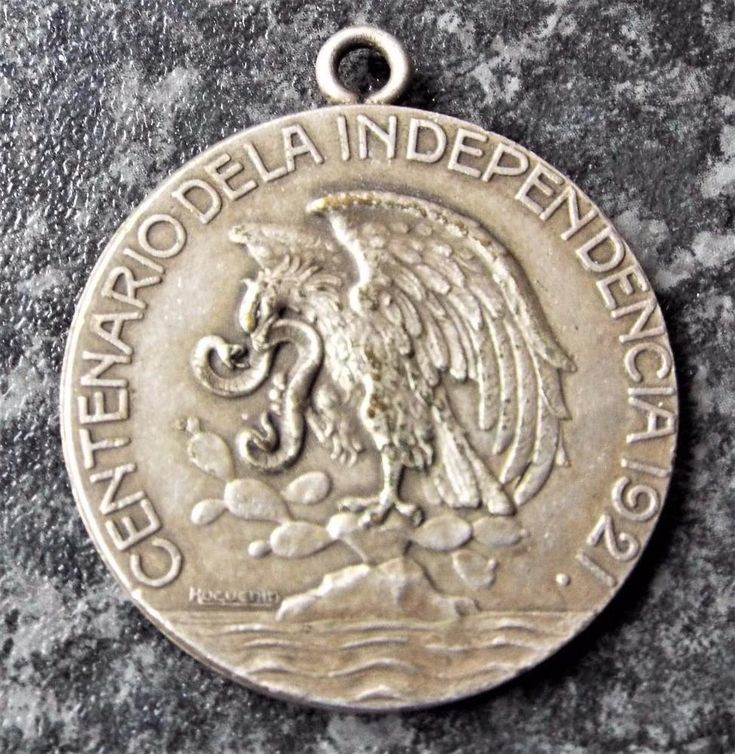 Antique Mexican Centenary of Independence 1921 Silver Medal - Angel