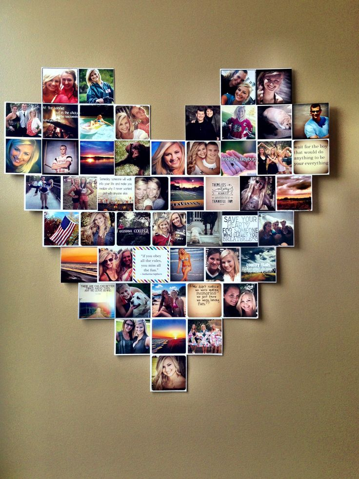 Heart photo collage dorm room ideas instagram pictures for Collage mural ideas