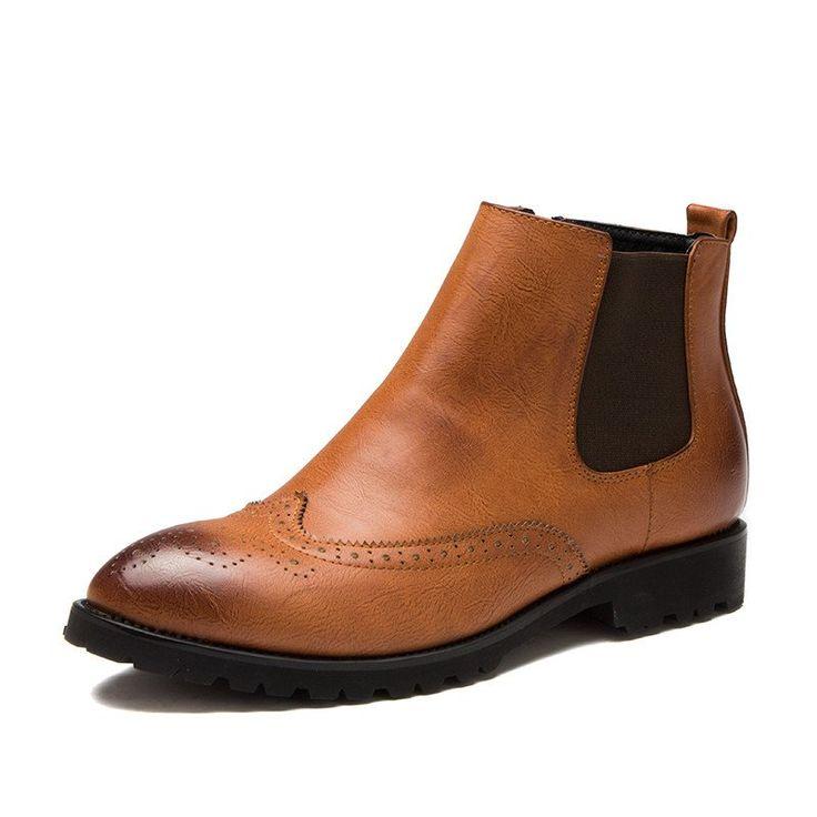 2017 Carved men dress boots - Genuine Leather