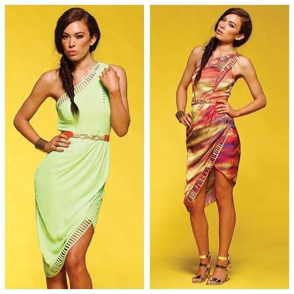 In store now this honey & beau sunset drape dress. Also Available in magenta