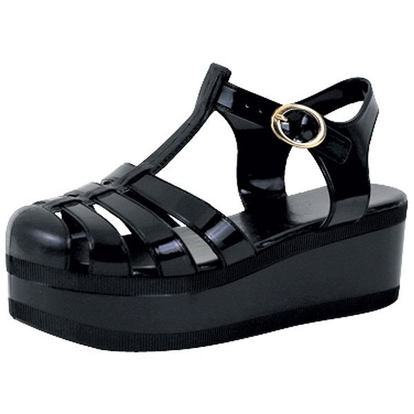 Womens Platform Sandals Jelly Adjustable Strap Casual Comfort Shoes... ($20) ❤ liked on Polyvore featuring shoes, sandals, black, synthetic shoes, platform jelly shoes, kohl shoes, black shoes and black jelly shoes