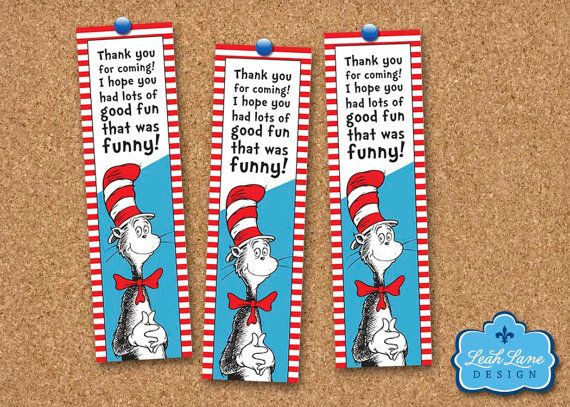 Cat In The Hat Dr. Seuss Printable Bookmarks or by LeahLaneDesign, $6 ...