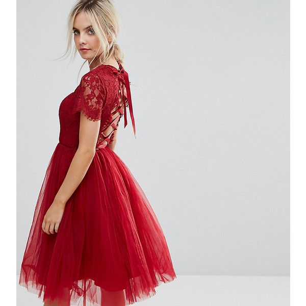 Chi Chi London Petite Midi Tulle Dress with Lace Up Back (326.045 COP) ❤ liked on Polyvore featuring dresses, petite, red, tulle cocktail dresses, red dresses, tulle dress, petite midi dress and laced dress