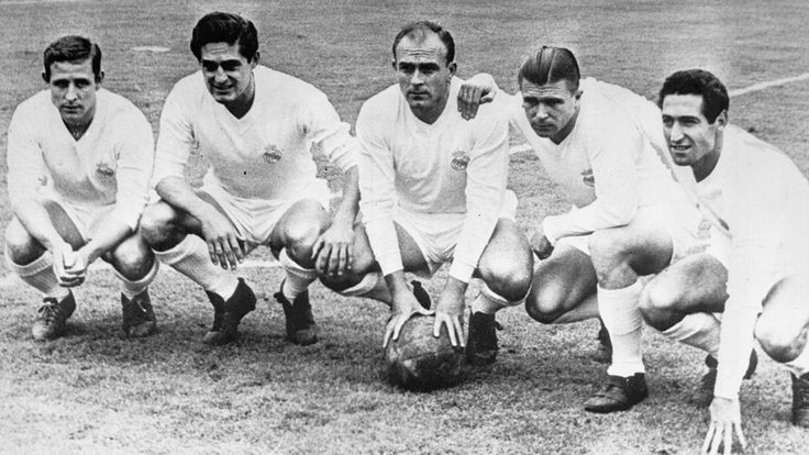 Alfredo Di Stefano poses alongside Real Madrid team-mates Raymond Kopa, Hector Rial, Ferenc Puskas and Francisco Gento in 1958.