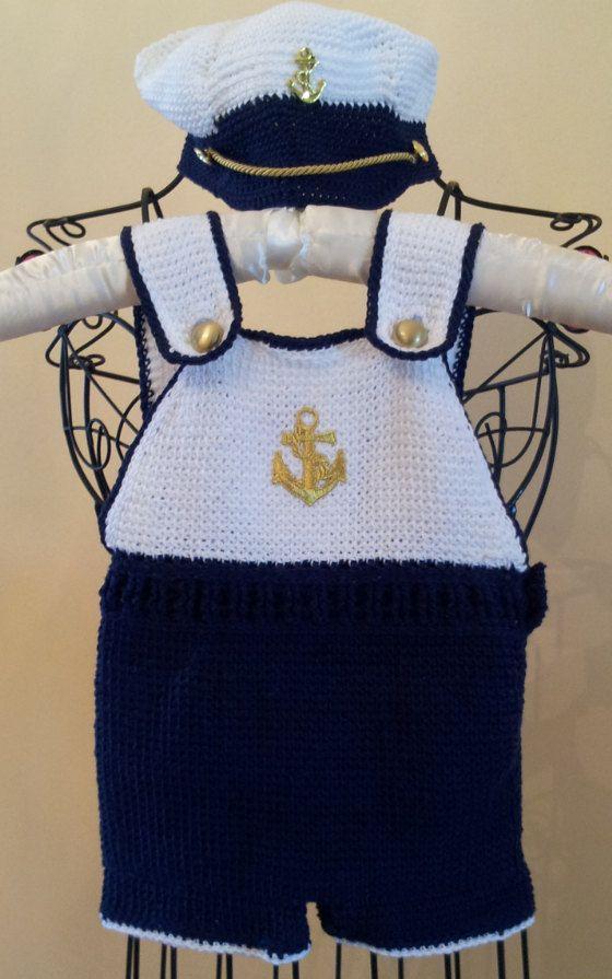Crocheted Nautical/ Navy Ship Ahoy Boys by Hummingbirdcrochet, $65.00