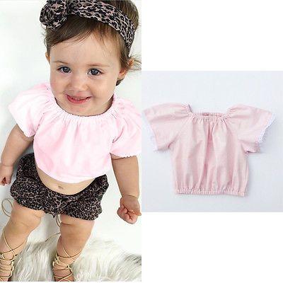 Summer Newborn Infant Baby Girl T-shirt Tank Top Tee Cute Lace Pink T-shirt UK