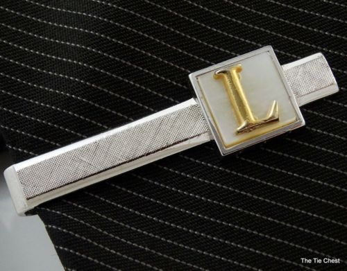 Great personalized tie clip for someone special with an L initial! Swank Tie Clip with the Letter L. Silver Tone Mother-of-Pearl | The Tie Chest