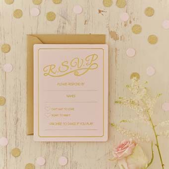 Ensure you know which guests will be at your big day with these stunning pastel pink and gold foiled wedding RSVP cards.