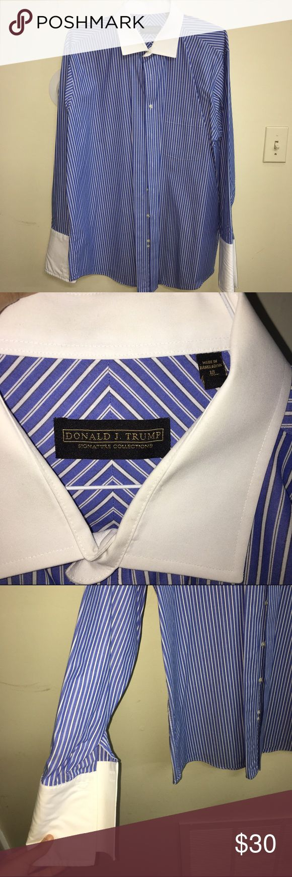 Donald Trump button down shirt 👍 White and blue striped button down by Donald Trump. White collar and cuff contrast. Good used condition dry cleaned. Offers are welcome. donald trump Shirts Dress Shirts