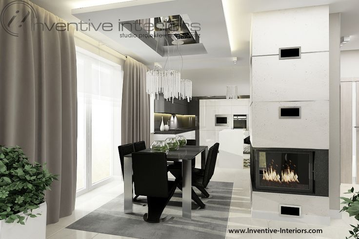 Projekt salonu Inventive Interiors - biały beton dekoracyjny na obudowie kominka