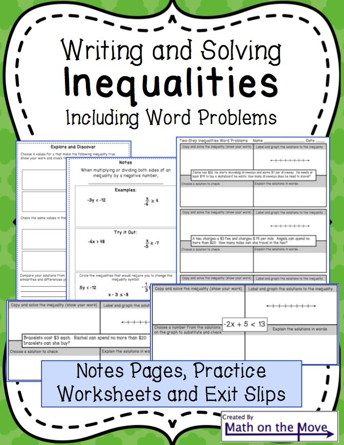 Worksheets One Variable Linear Inequalities Word Problems Worksheet 1000 images about 7th grade inequalities on pinterest notes and practice includes word problems