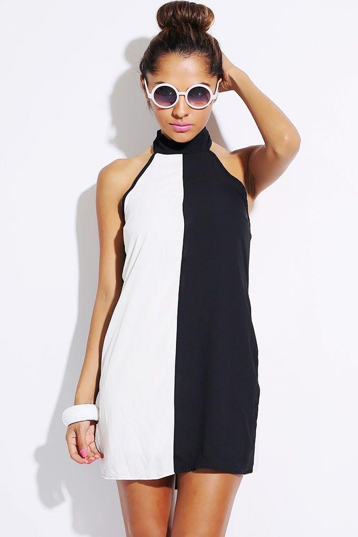 color block white and black dress   Wholesale Black/white color block backless halter club mini dress
