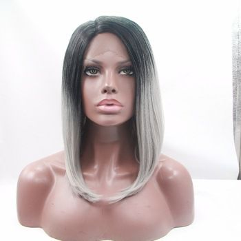 Peruca Front Lace de cabelo sintético Ombre Hair Loiro //Price: $560.49 & FREE Shipping