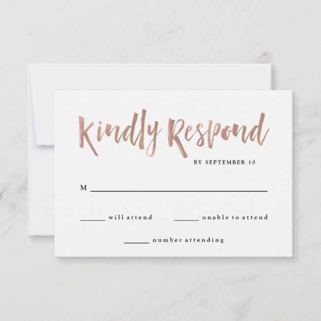 Modern Wish Faux Rose Gold Wedding Rsvp Card Zazzle Com With