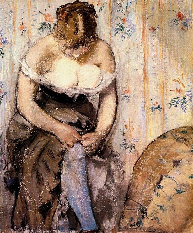 Woman fastening her garter - Edouard Manet