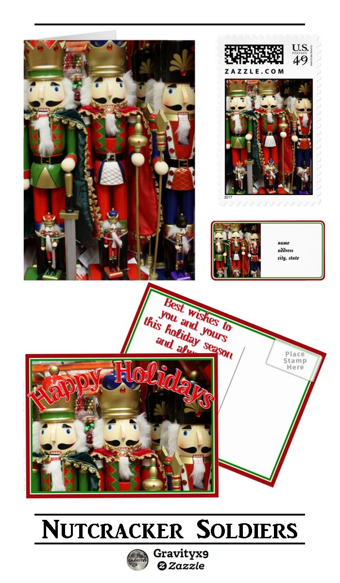 """Colorful and festive """"Christmas Nutcracker Soldiers"""" Stationery, Cards and postage for your Holiday Greetings by #I_Love_Xmas. #christmasiscoming #ballet #toysoldier #christmassoldier #Gravityx9 #ChristmasCards #nutcracker #nutcrackersoldier #ChristmasNutcracker #christmascard #christmaspostage #ChristmasSupplies"""