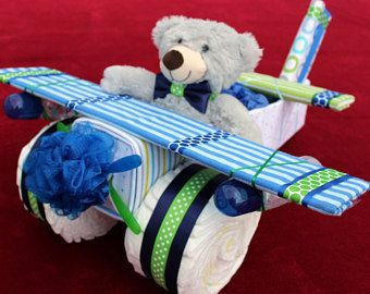 Diaper Cake - Unique Baby Shower Gift or Centerpiece - Airplane Diaper Cake - Baby Boy, Baby Girl, Neutral Baby Gift