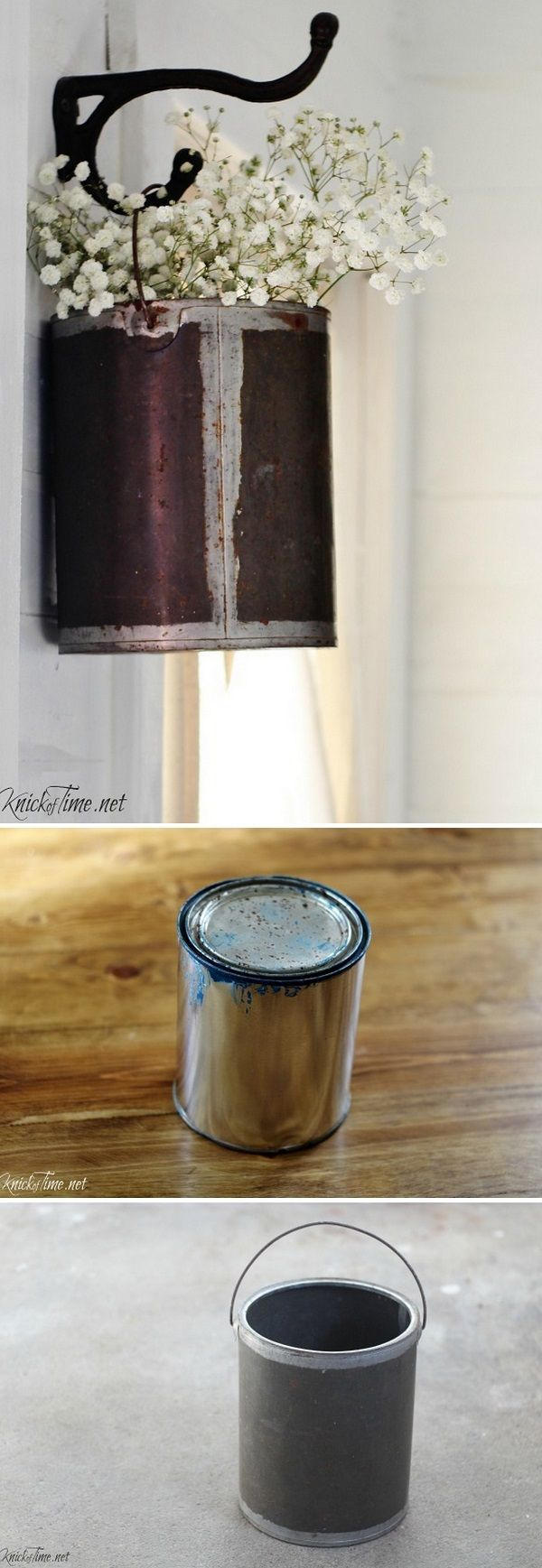 Check out this easy idea on how to repurpose a paint can to a #DIY #farmhouse style flower planter #homedecor #rustic #project @istandarddesign
