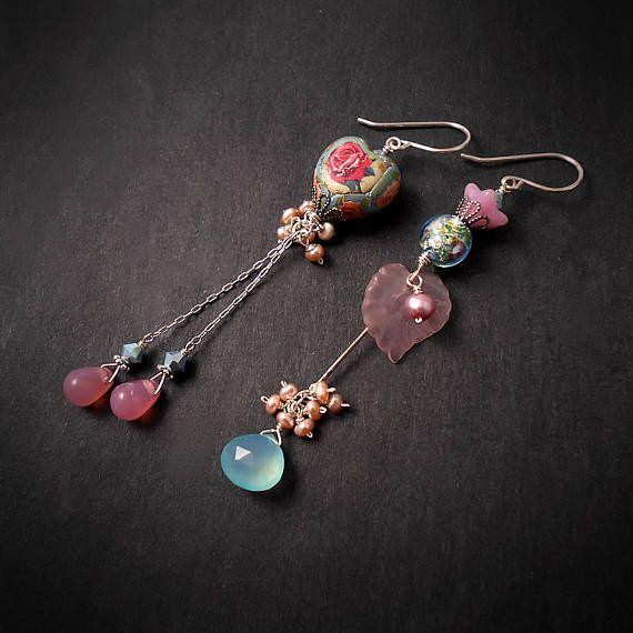 Asymmetrical Pink Rose Flower Earrings Aqua Blue Chalcedony Gemstone Earrings Opal Pink Floral Earrings Spring Summer Garden Wedding OOAK, by MiaMontgomery at Etsy