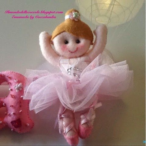 Ballerina sulle punte rosa. Banner per MariaSofia ❤️❤️❤️ in feltro, pannolenci, tessuto, handmade.  Realizzata interamente a mano senza l'ausilio di macchina da cucire.