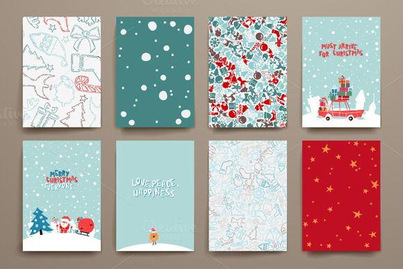 Merry Christmas Card Templates by Palau on Creative Market